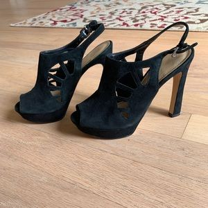 Size 6 Marc Fisher Black suede like new shoes